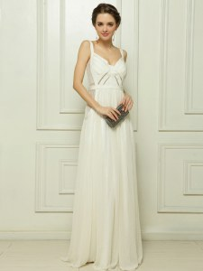Floor Length White Prom Gown Spaghetti Straps Sleeveless Zipper