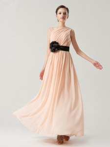 Peach Side Zipper One Shoulder Belt Pageant Dress Womens Chiffon Sleeveless