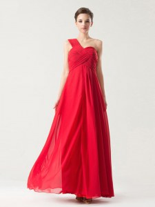 Beauteous One Shoulder Sleeveless Floor Length Ruching Zipper Dress for Prom with Red