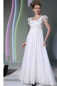 Artistic Scoop Floor Length Zipper Homecoming Dress White for Prom and Party with Beading and Lace