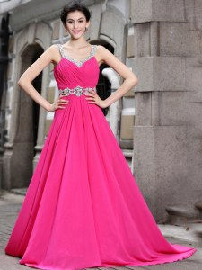 Hot Pink Sleeveless Brush Train Beading Prom Gown