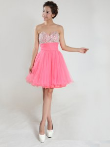 Top Selling Pink Sleeveless Chiffon Lace Up Cocktail Dresses for Prom and Party