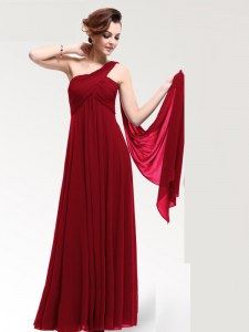 High End Wine Red Empire One Shoulder Sleeveless Chiffon Floor Length Zipper Ruching Dress for Prom