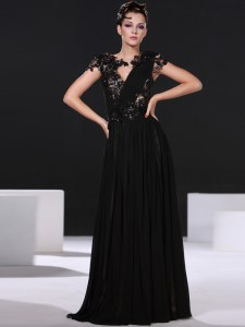 Black Prom and Party and For with Lace Scoop Cap Sleeves Backless