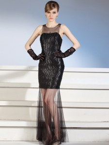 Pretty Scoop Black Zipper Evening Dress Pattern Sleeveless Floor Length