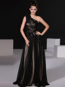 Clearance One Shoulder Sleeveless Beading Zipper Prom Evening Gown