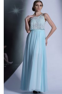 Discount Scoop Floor Length Side Zipper Prom Gown Light Blue for Prom and Party with Lace