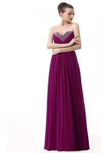 Affordable Purple Column/Sheath Beading and Ruching Lace Up Chiffon Sleeveless Floor Length