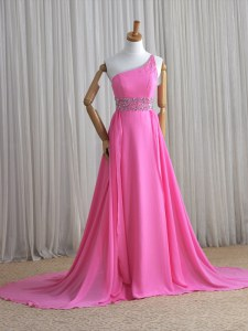 Chic One Shoulder Beading Prom Gown Rose Pink Lace Up Sleeveless Brush Train