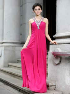 Hot Pink Column/Sheath Beading and Ruching Prom Evening Gown Criss Cross Chiffon Sleeveless Floor Length