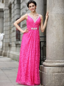 Hot Pink Column/Sheath Beading and Lace Prom Gown Zipper Lace Sleeveless Floor Length