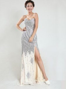 Fantastic Silver Sleeveless With Train Sequins Zipper Prom Dress