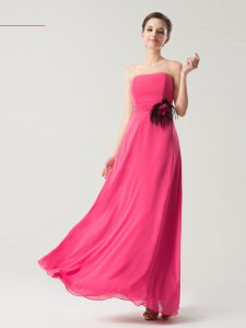 Chiffon Sleeveless Floor Length Evening Wear and Hand Made Flower