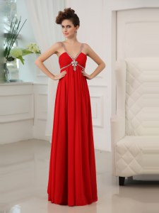 Floor Length Red Homecoming Dresses V-neck Sleeveless Zipper