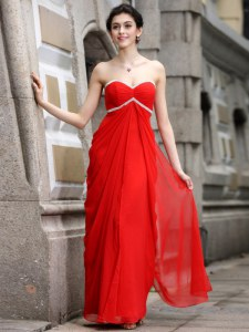 Custom Design Coral Red Sweetheart Zipper Beading Prom Dress Sleeveless