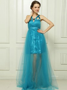 Beauteous Brush Train Column/Sheath Prom Party Dress Teal Halter Top Satin Sleeveless With Train Criss Cross