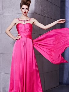 Deluxe Hot Pink Elastic Woven Satin Zipper Sweetheart Sleeveless Floor Length Evening Dress Ruching