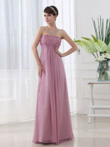 Custom Fit Sleeveless Chiffon Floor Length Zipper Prom Dresses in Lilac with Hand Made Flower