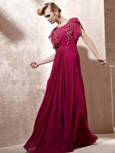 Scoop Cap Sleeves Zipper Prom Party Dress Fuchsia Chiffon