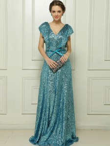 V-neck Sleeveless Prom Dresses Floor Length Sequins and Bowknot Teal Sequined