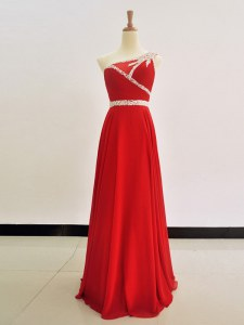 Captivating One Shoulder Red Sleeveless Floor Length Beading Zipper Prom Gown