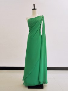 One Shoulder Floor Length Zipper Homecoming Dress Green for Prom and Party with Ruching