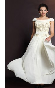 Super White Chiffon Side Zipper Prom Dresses Cap Sleeves Floor Length Beading