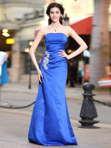 Sophisticated Blue Taffeta Zipper Homecoming Dress Sleeveless Floor Length Appliques and Ruching