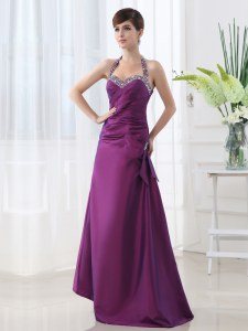 Stylish Halter Top Purple Sleeveless Beading and Ruching Floor Length Homecoming Dress