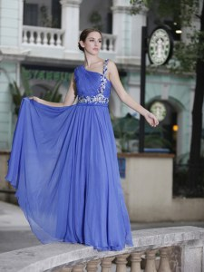 Fashion Blue Chiffon Side Zipper One Shoulder Sleeveless Floor Length Pageant Dress Womens Hand Made Flower