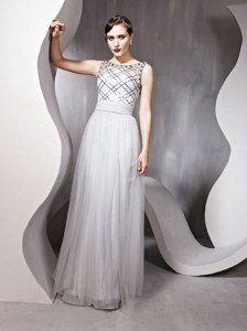 Silver Scoop Neckline Beading Evening Dress Sleeveless Zipper