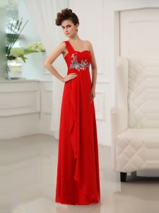Floor Length Red Celebrity Dress One Shoulder Sleeveless Zipper
