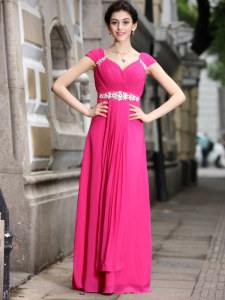 Fabulous Beading Prom Party Dress Hot Pink Zipper Sleeveless Floor Length
