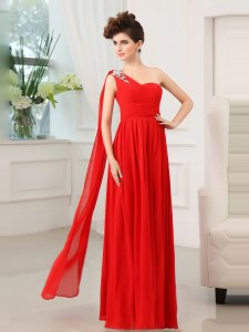 Red Column/Sheath One Shoulder Sleeveless Chiffon Floor Length Zipper Beading and Sashes ribbons and Ruching Homecoming Dress