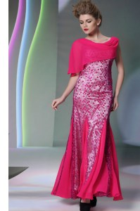 Deluxe Mermaid Scoop Beading Prom Party Dress Hot Pink Zipper Sleeveless Floor Length