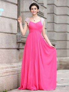Sumptuous Hot Pink V-neck Zipper Beading Dress for Prom Cap Sleeves