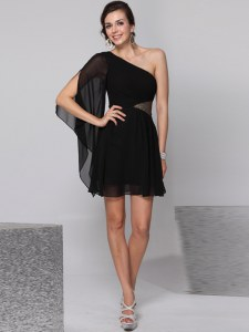 One Shoulder Half Sleeves Knee Length Sequins Side Zipper Homecoming Dress Online with Black