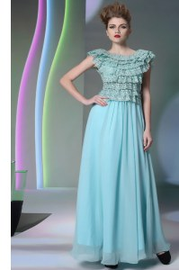 Latest Scoop Lace Prom Gown Aqua Blue Side Zipper Cap Sleeves Floor Length