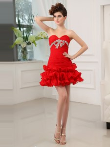 Fashion Red Sweetheart Neckline Beading and Ruffled Layers Cocktail Dress Sleeveless Lace Up