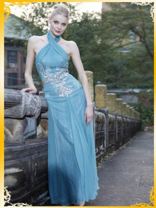 Dazzling Light Blue Prom Gown Prom and Party and For with Appliques Halter Top Sleeveless Zipper