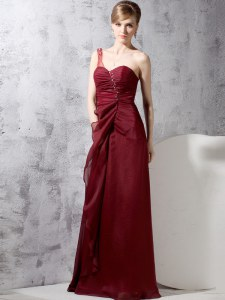 One Shoulder Burgundy Sleeveless Beading and Ruching Floor Length