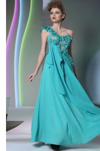 Teal Chiffon Side Zipper One Shoulder Sleeveless Floor Length Prom Gown Lace and Hand Made Flower