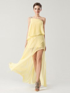 Decent One Shoulder Yellow Sleeveless Chiffon Zipper for Prom and Party
