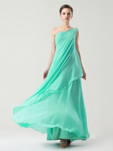 One Shoulder Turquoise Sleeveless Beading and Ruching Ankle Length Dress for Prom