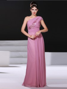 Fabulous Lilac One Shoulder Neckline Ruching Dress for Prom Sleeveless Criss Cross