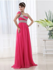Sexy One Shoulder Chiffon Cap Sleeves With Train Dress for Prom Brush Train and Beading and Ruching