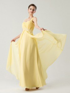 One Shoulder Sleeveless Chiffon Prom Evening Gown Beading and Ruching Zipper