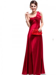 One Shoulder Satin Sleeveless Floor Length Prom Dress and Ruching