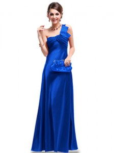 Wonderful One Shoulder Floor Length Criss Cross Dress for Prom Royal Blue for Prom and Party with Ruching