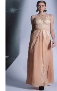Scoop Peach Sleeveless Lace Floor Length Evening Dress